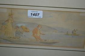 Style of John Leech, watercolour, study of figures