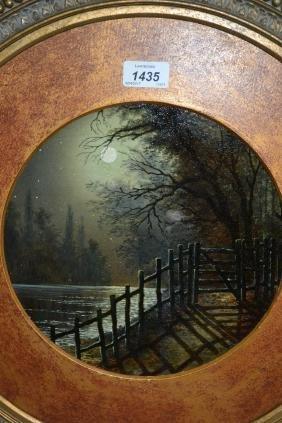 Pair of 19th Century circular gilt framed oils, moonlit