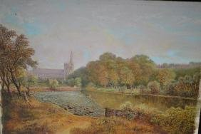 Oil on millboard, river landscape with figures and