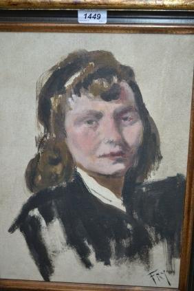 Modern British school oil on canvas board, portrait of
