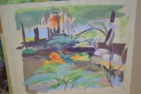 Phyllis Bray, five unframed gouache paintings, figures