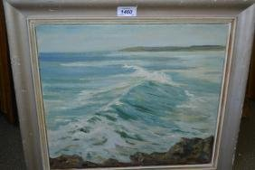 John Wheatley, oil on canvas, seascape with breaking