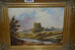 Attributed to Charles Haig Wood, oil on panel, river