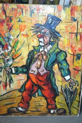 Unframed oil on canvas, portrait of a clown with a