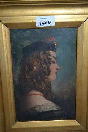 19th Century oil on panel, head and shoulder portrait