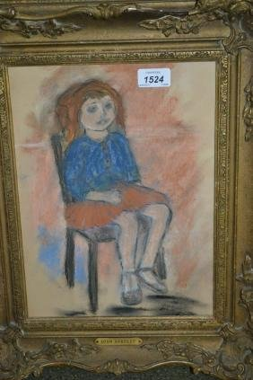Framed pastel drawing, portrait of a seated child,