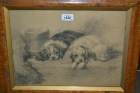 Maplewood framed charcoal drawing, portrait of two King