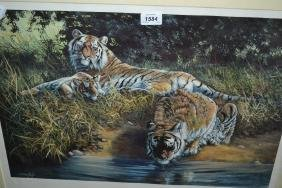 Dorothy Hyde, Limited Edition print of tigers, signed