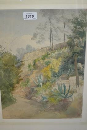 Watercolour, garden scene, signed H.R. Donne, 14ins x