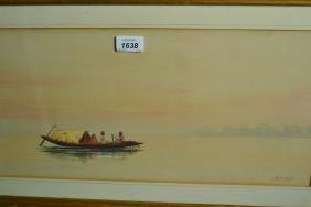 B.N. Dass, watercolour, Indian river scene with figures