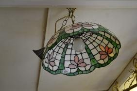 Reproduction leaded glass hanging lamp shade together