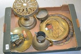 Brass trivit, jug and a quantity of plates / dishes etc