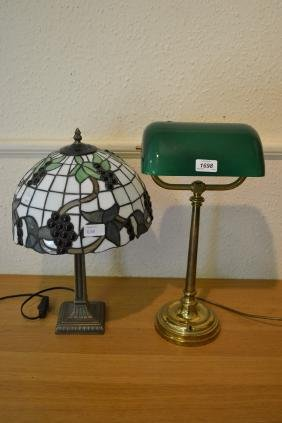 Brass and green glass desk lamp together with a modern
