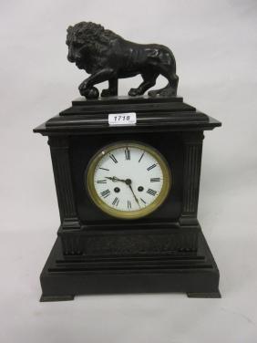 19th Century French black slate mantel clock,