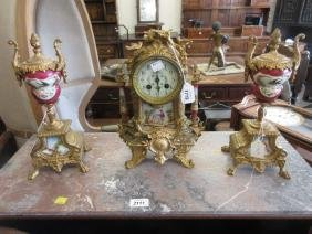 19th Century gilded spelter and porcelain mounted three