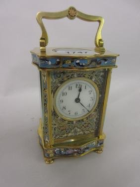 19th Century French gilt brass and champleve enamel