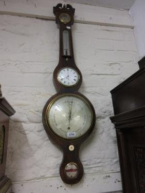 George III mahogany and line inlaid clock / barometer /