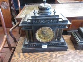 19th Century French black slate metal mounted two train