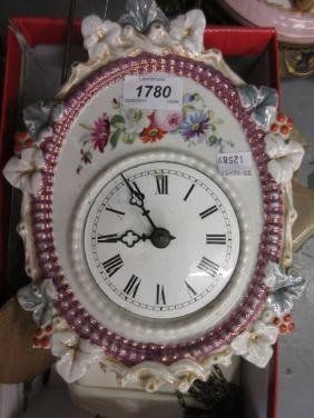 19th Century German porcelain wall clock having floral