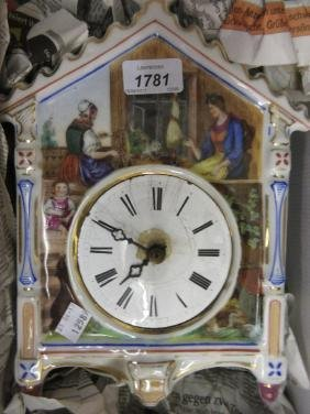 19th Century German porcelain wall clock decorated with