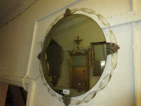 Art Deco style circular wall mirror with Perspex and