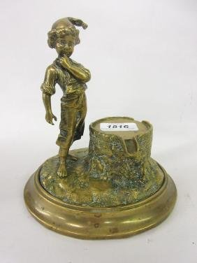 19th Century polished bronze figural inkwell / pen