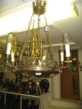 20th Century gilt brass six branch chandelier in French