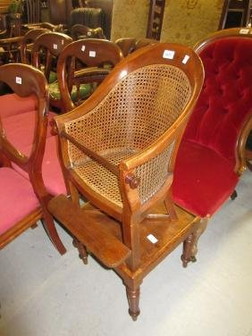 Child's 19th Century mahogany bergere high chair on