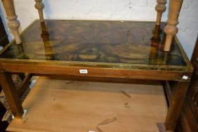 Large modern rectangular coffee table, the glass top