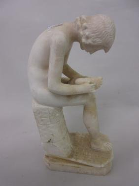 19th Century carved alabaster figure of the Spinario