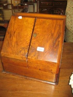 Victorian figured walnut slope front stationery box