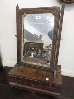 George III walnut box toilet mirror with a swing mirror