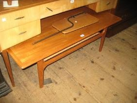 Danish rectangular tyg coffee table with undertier by