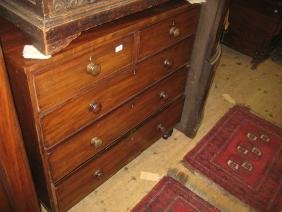 19th Century mahogany straight front chest of two short