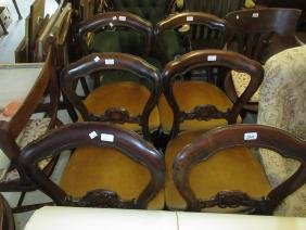 Set of six mahogany balloon back dining chairs with