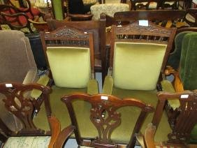 Pair of late 19th Century walnut and upholstered