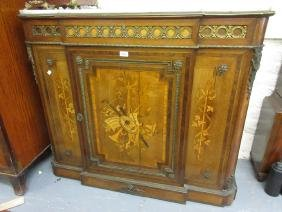 19th Century Continental marquetry inlaid breakfront