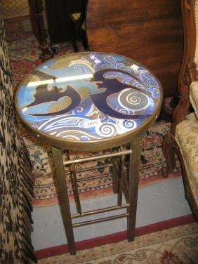 Art Deco circular brass occasional table with a painted