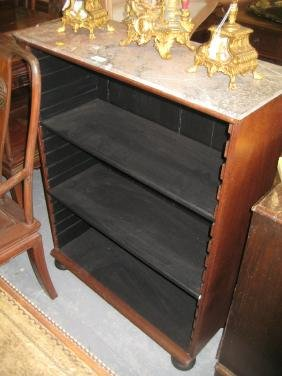 19th Century rosewood marble topped open bookcase with