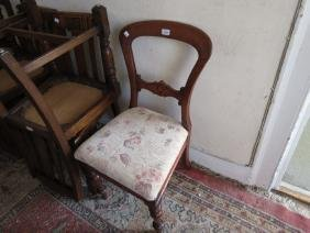 Pair of Victorian mahogany side chairs, two standard