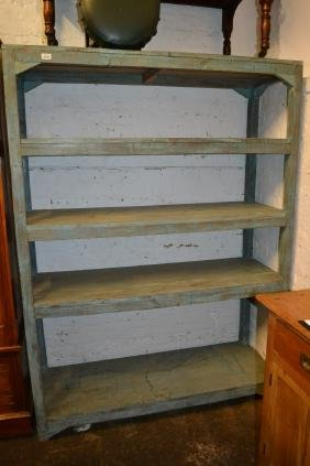 Large painted pine free standing five shelf unit