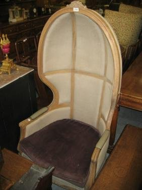 20th Century Continental oak and upholstered porter's