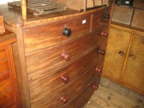 19th Century mahogany bow fronted chest of two short