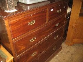 Edwardian mahogany straight front chest of two short