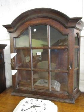 Antique oak dome top wall mounting display cabinet with