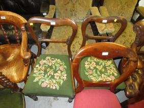 Pair of early Victorian rosewood kidney backed side