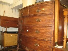19th Century mahogany bow front chest of two short and