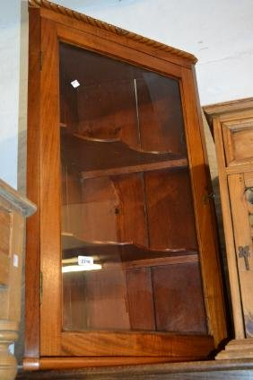 Mahogany single door hanging corner cabinet, together