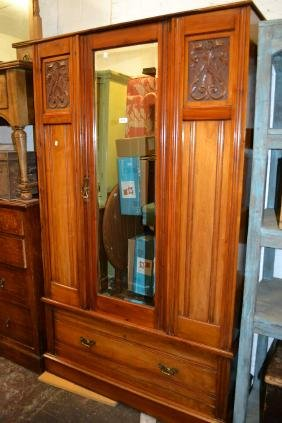Late Victorian walnut single door wardrobe