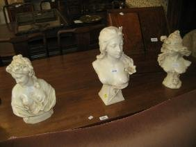 Two modern resin Art Nouveau style busts of females and